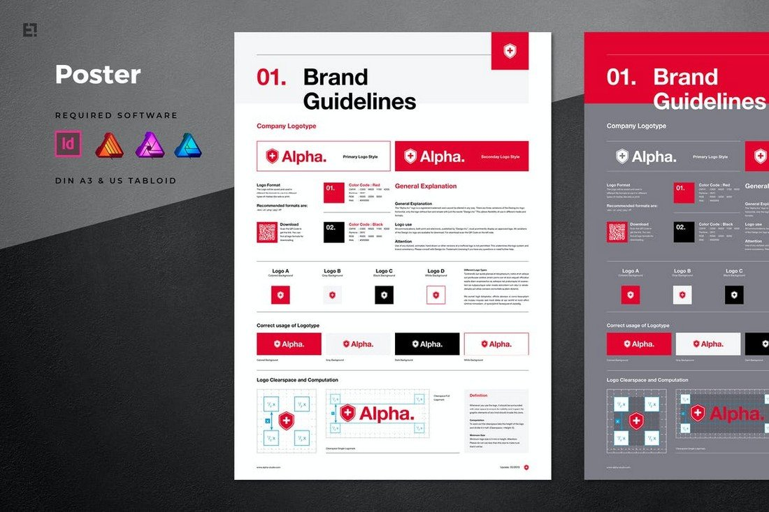 Multipurpose-Brand-Manual-Poster-Template 20+ Best Brand Manual & Style Guide Templates 2020 (Free + Premium) design tips