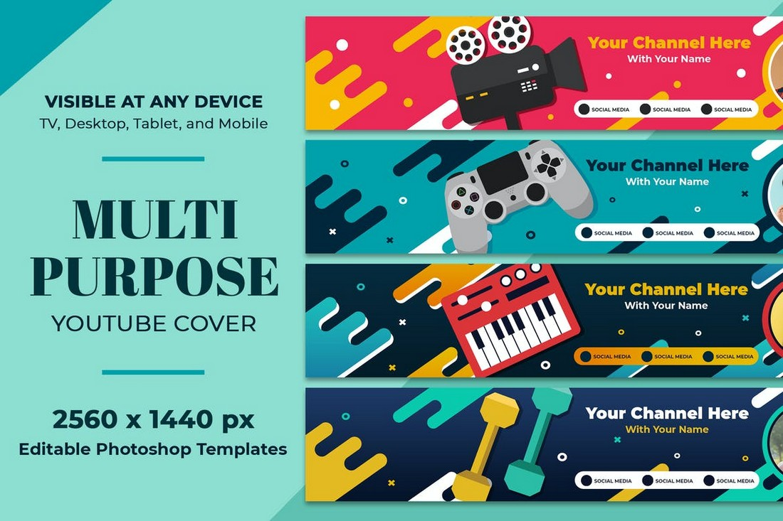 Multipurpose Gaming Youtube Cover Art Templates