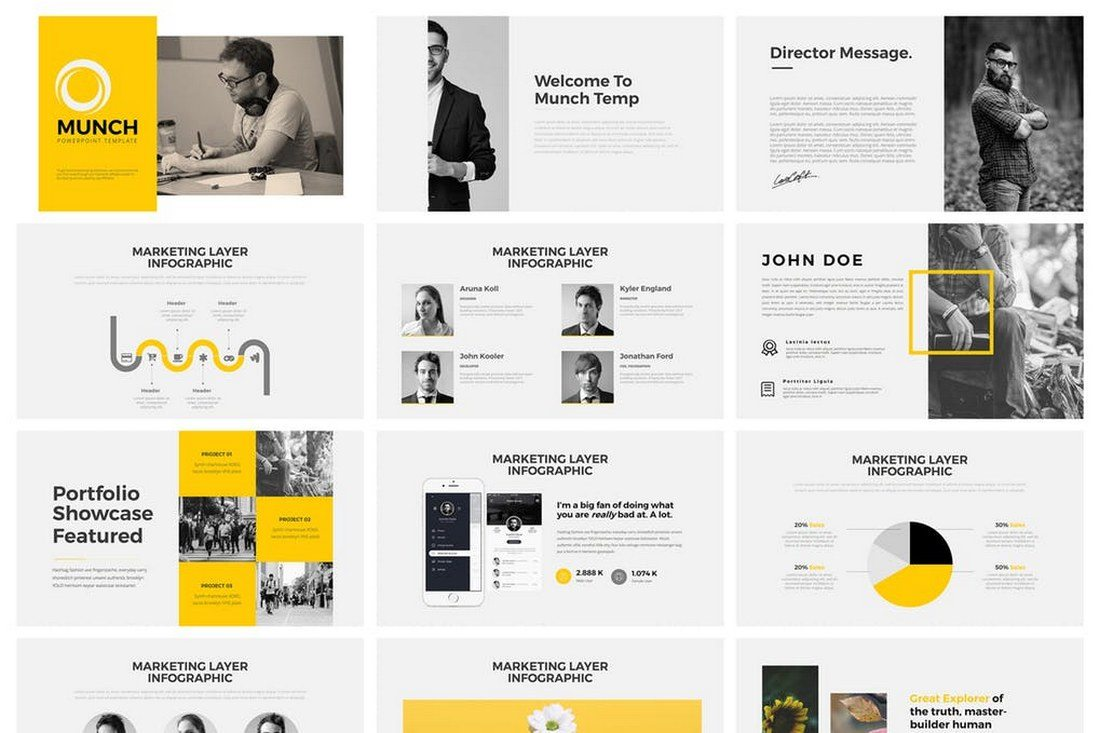 60 beautiful premium powerpoint presentation templates design shack munch powerpoint template toneelgroepblik Gallery