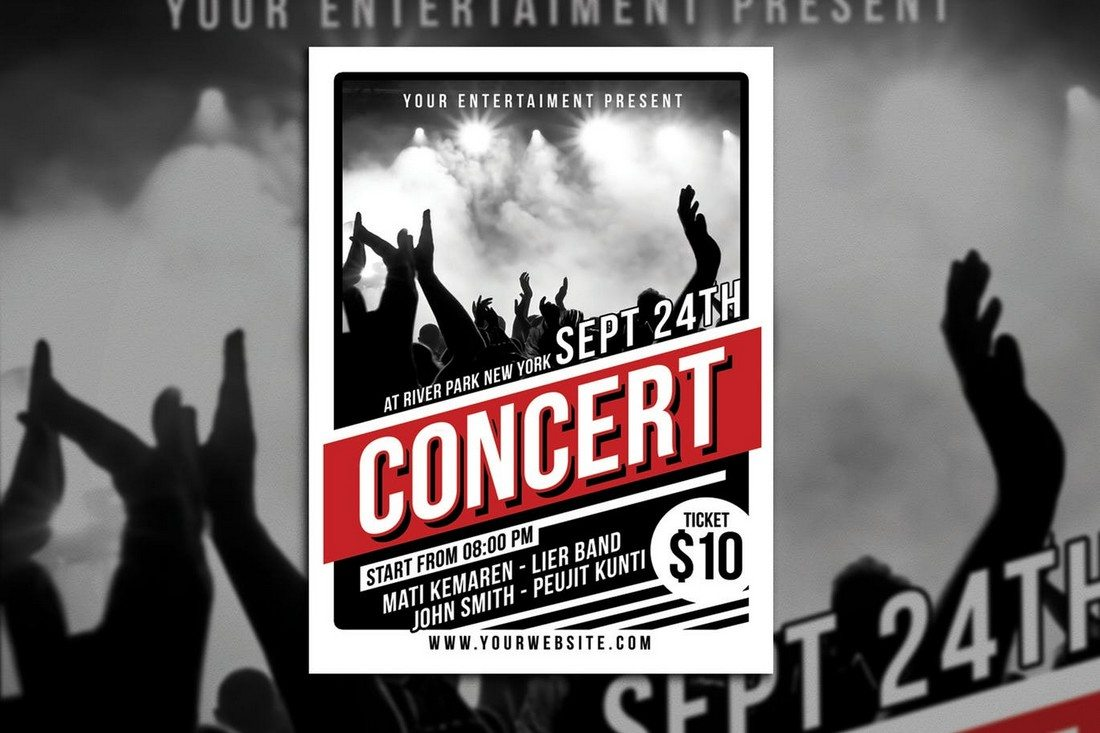 this flyer comes with a mix of both modern and retro design its made for promoting indie rock and pop music concerts the flyer comes in 8271169 size