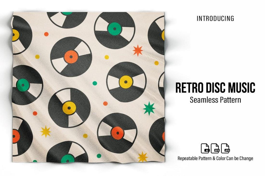 Music Disc Retro Seamless Pattern