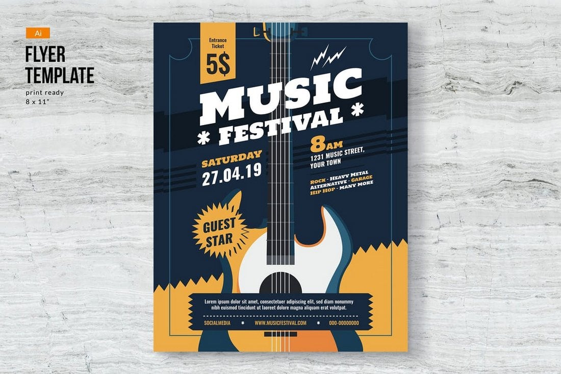 Music-Event-Festival-poster-Template 30+ Best Poster Mockup Templates 2021 design tips