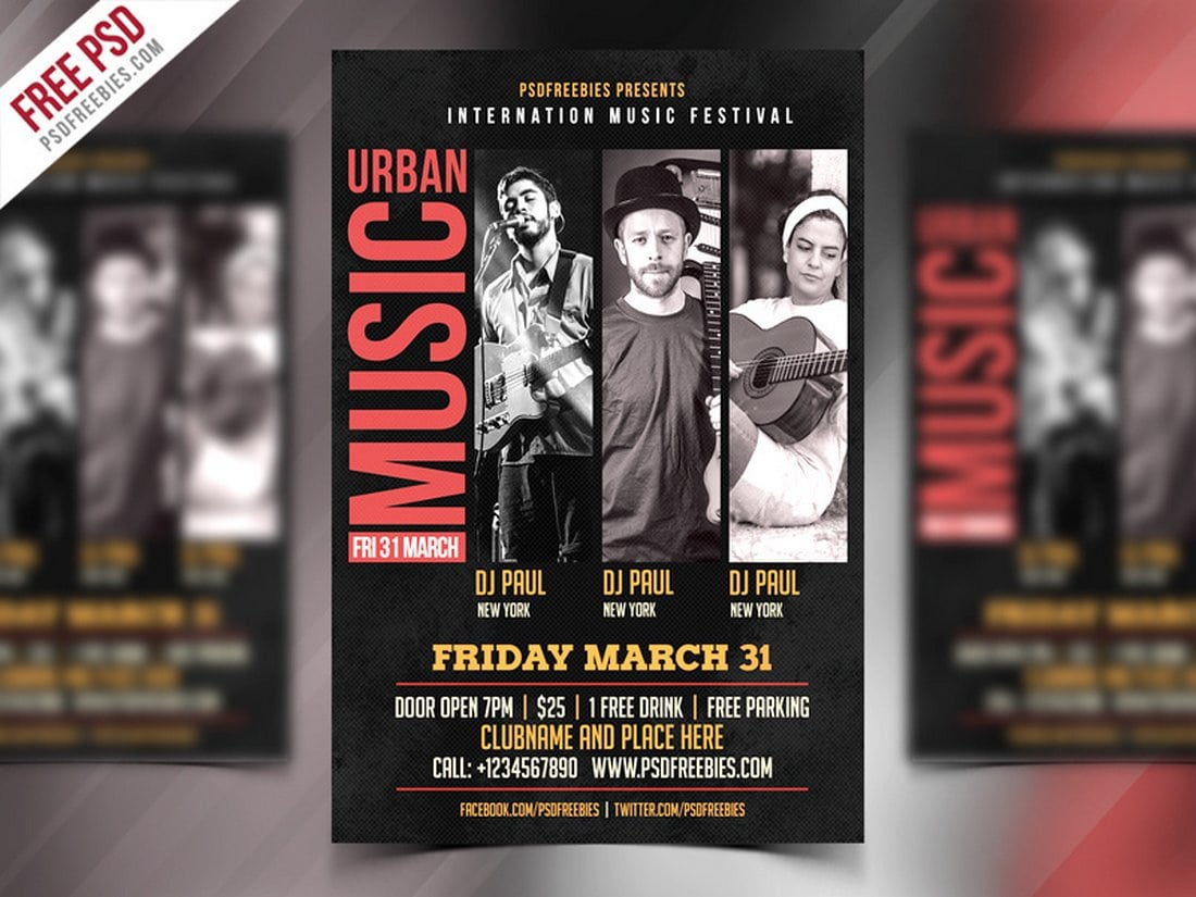 Music Event Flyer Free PSD Template
