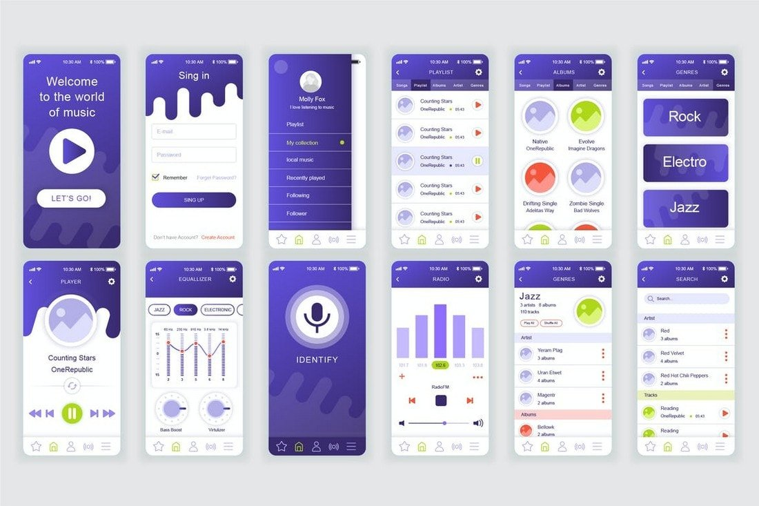 Music-Mobile-App-UX-and-UI-Kit 25+ Best Mobile App UI Design Examples + Templates design tips  Inspiration
