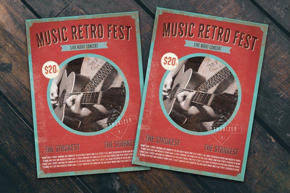 Music-Retro-Fest-Flyer-Poster 27 Inspiring Letterpress Style Posters design tips