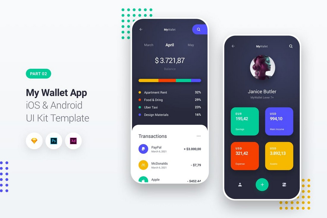My Wallet App - iOS & Android UI Kit