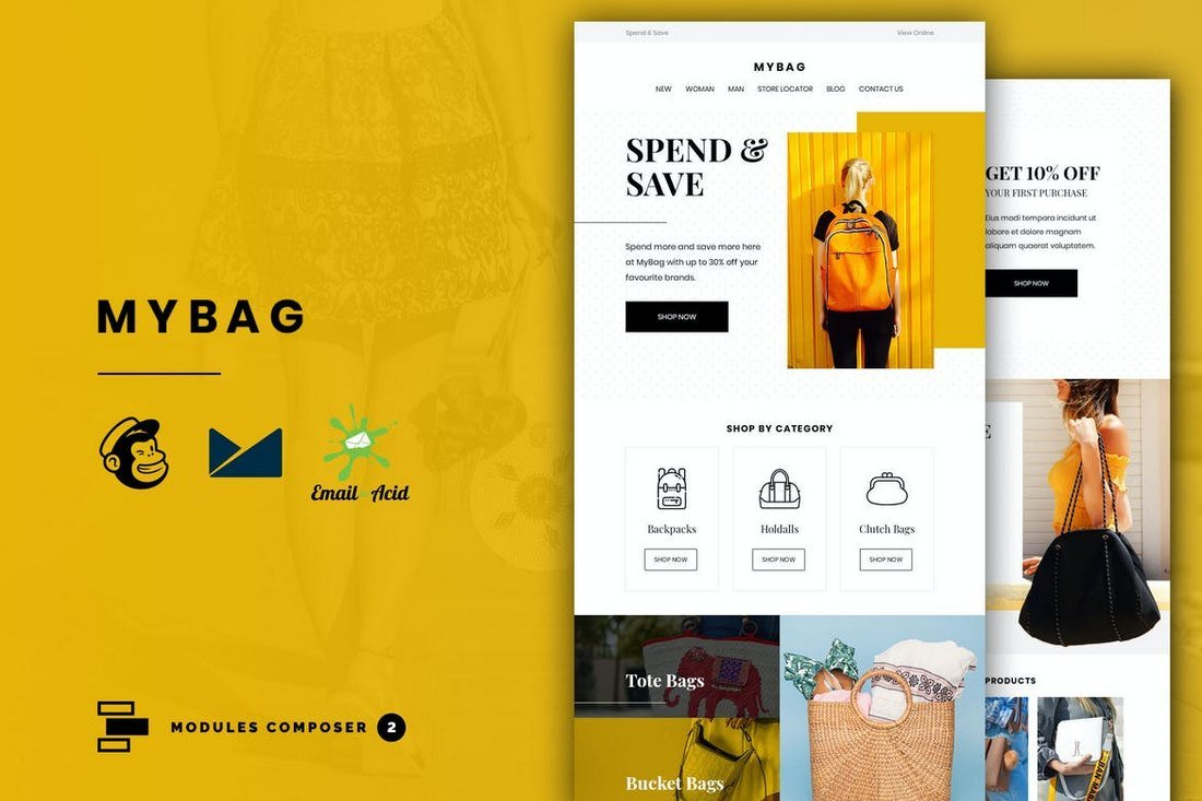 MyBag-Responsive-eCommerce-Email-Template 40+ Modern Responsive Email Templates 2021 design tips