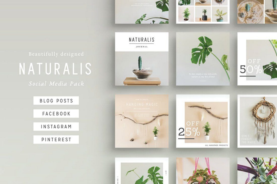 NATURALIS-Social-Media-BUNDLE 20+ Best Social Media Kit Templates & Graphics design tips