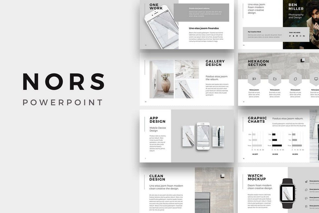 nors is a professionally designed powerpoint presentation template that features a minimalist design that uses just 2 colors it includes 130 unique slides