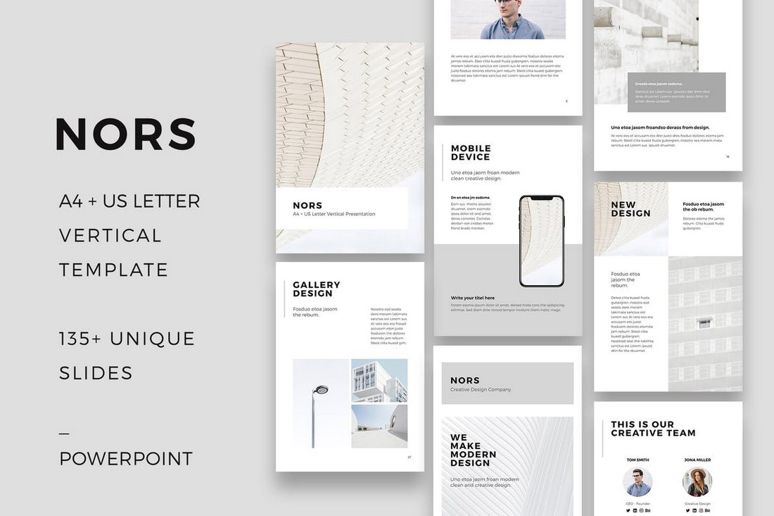NORS - Vertical Powerpoint A4 US Letter Template