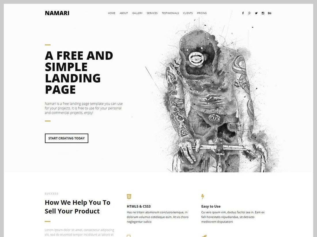 Namari - Free Minimal Landing Page Template