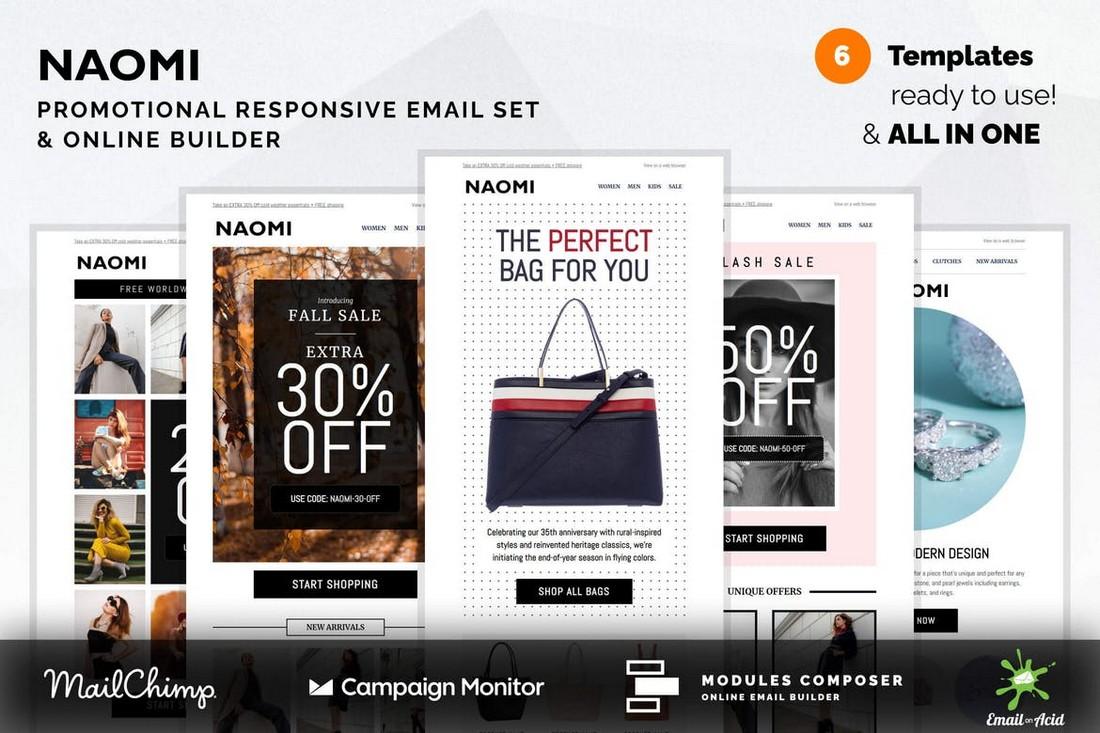 Naomi - Promotional MailChimp Email Templates Set