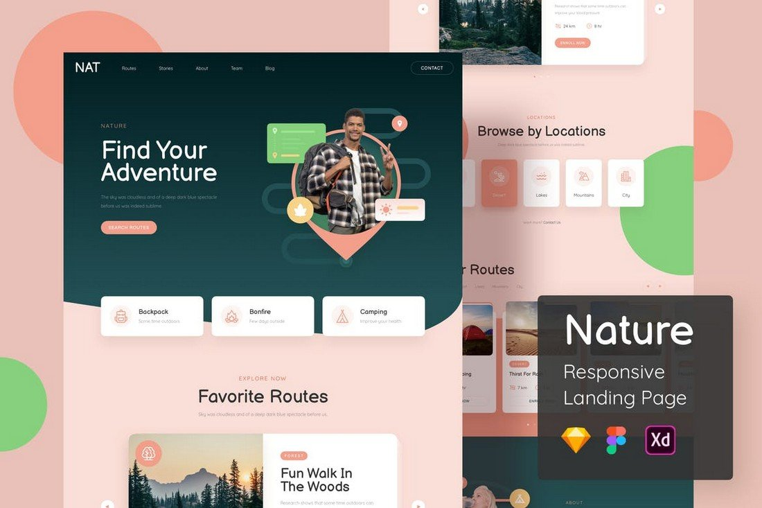 Nature - Landing Page Sketch Template