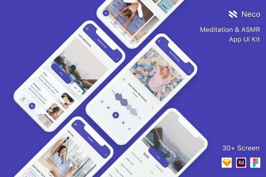 Neco-Meditation-App-UI-Kit 25+ Best Mobile App UI Design Examples + Templates design tips  Inspiration
