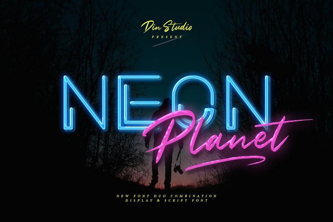 Neon-Planet-Retro-Font-Duo 25+ Best Retro Fonts in 2021 (Free & Premium) design tips
