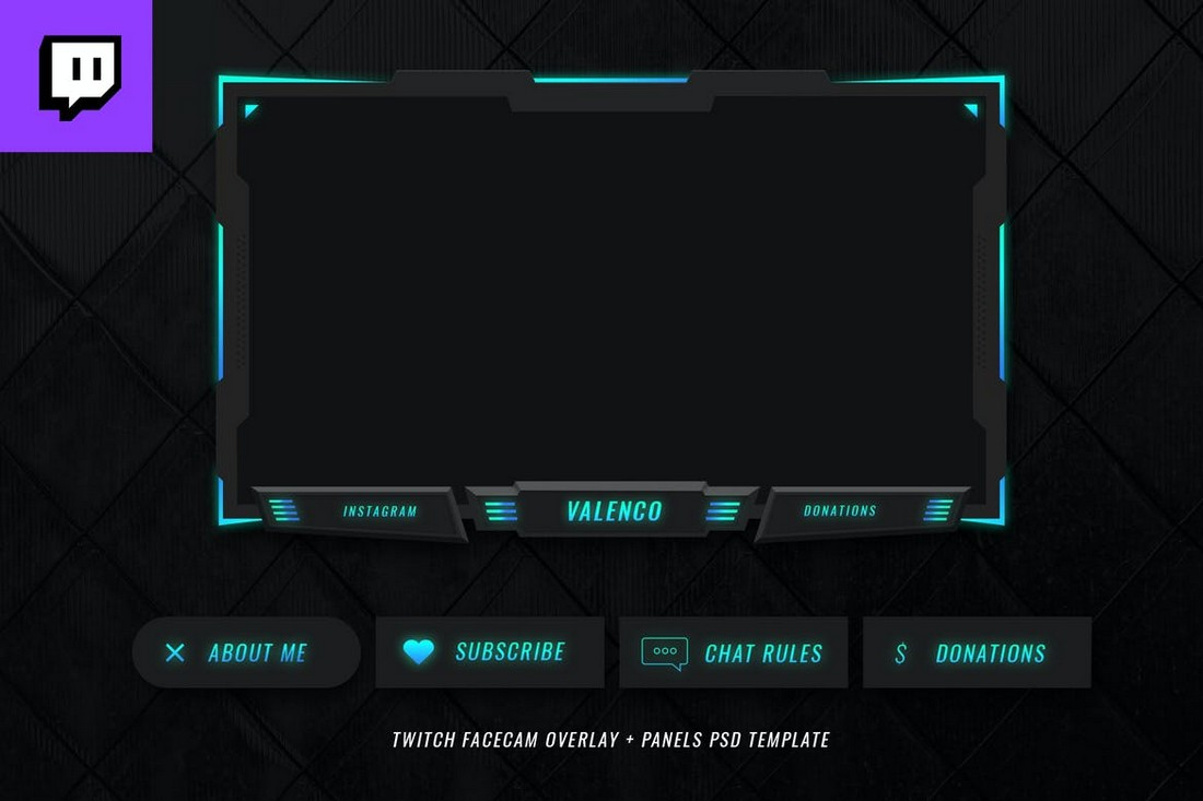 Neon Twitch Stream Overlay Template