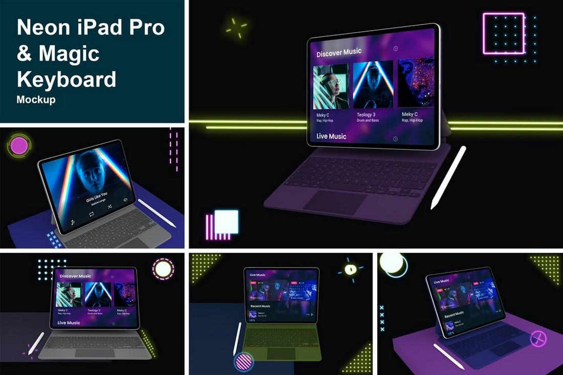 Neon iPad Pro & Magic Keyboard Mockup
