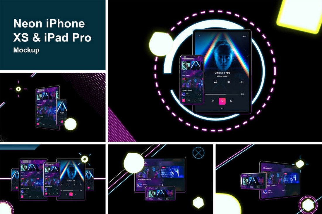 Neon iPhone XS & iPad Pro Mockups