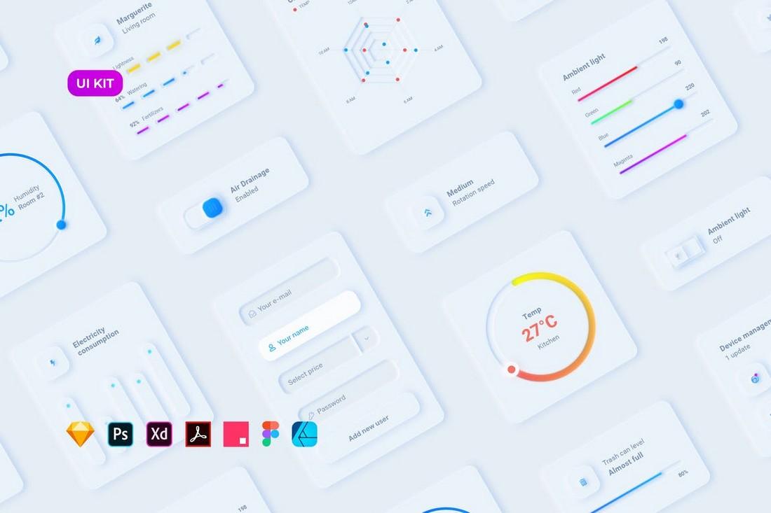 Neumorphic Smart Home UI Kit for Affinity Designer