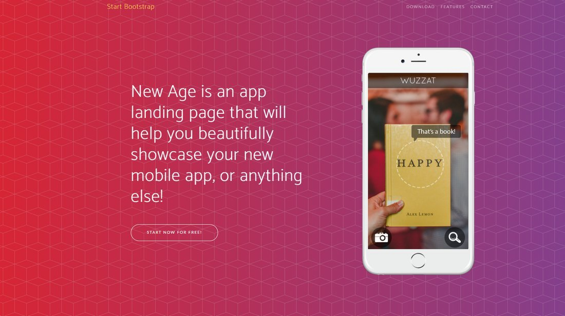 New-Age-Free-Bootstrap-Landing-Page-Template 50+ Best App Landing Page Templates 2021 design tips