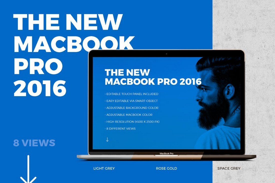 New-Macbook-Pro-Mockup-with-Touch-Panel 100+ MacBook Mockup Templates (PSD & Vector) design tips