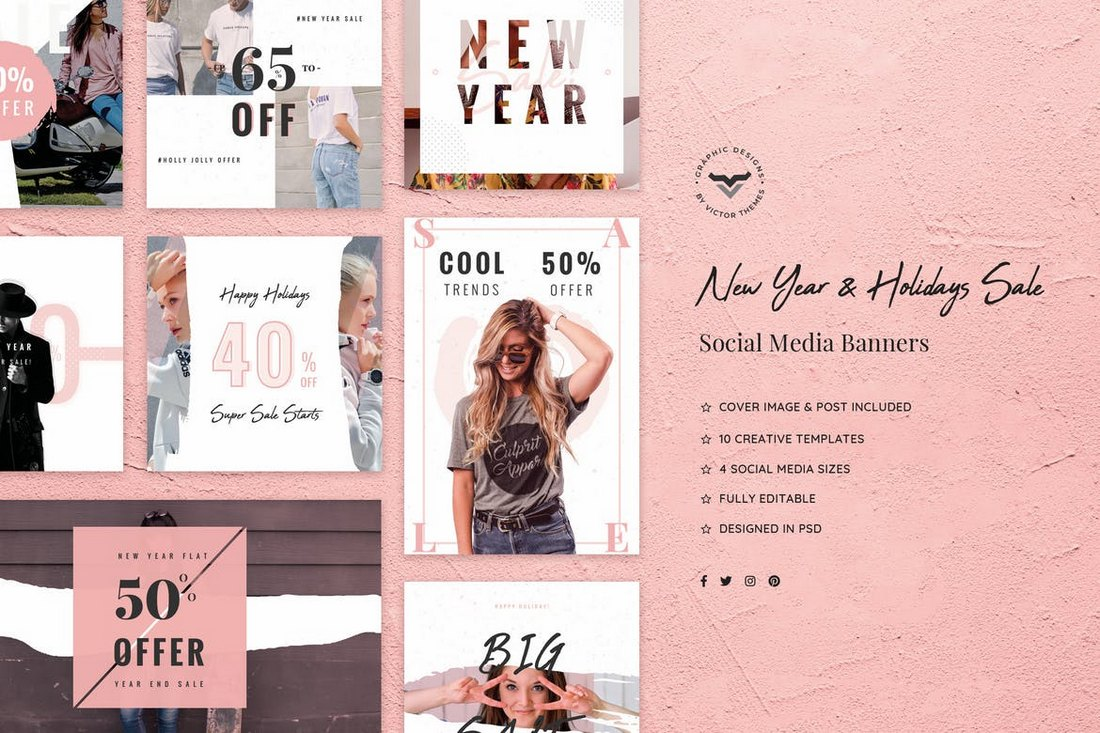 New-Year-Holidays-Sales-Social-Media-Kit 40+ Best Social Media Kit Templates & Graphics design tips  Inspiration|facebook|social media|twitter
