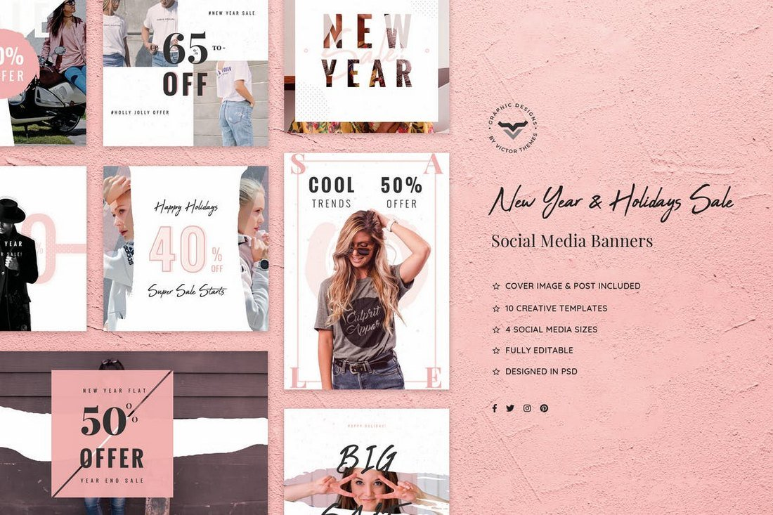 New-Year-Holidays-Sales-Social-Media-Kit 20+ Best Social Media Kit Templates & Graphics design tips