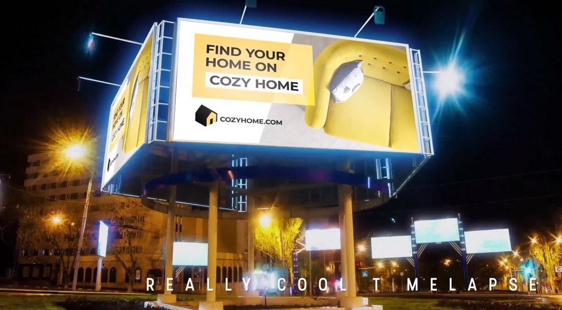 Night Billboard Mockup - Premiere Pro Template