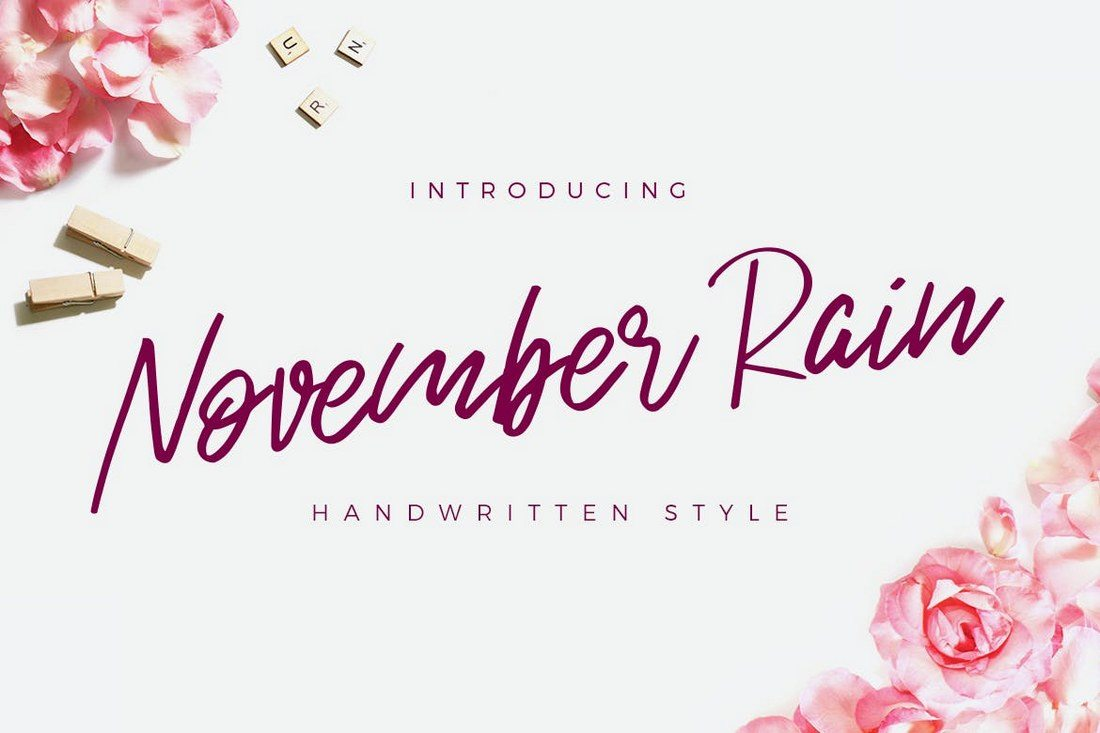 Good The November Rain Font Features A Modern And Stylish Design That Makes It  Ideal For Feminine Design Projects And Many Others ...
