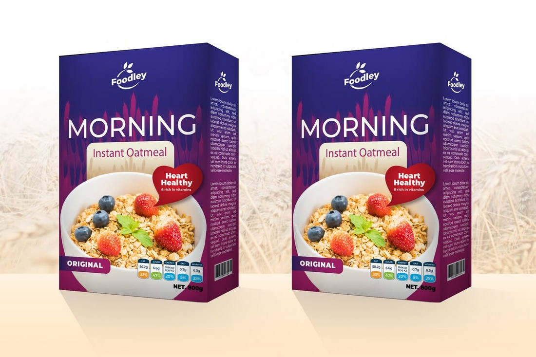 Oatmeal Box Packaging Template