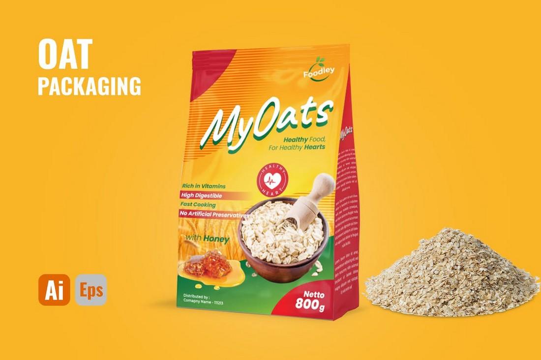 Oatmeal Packaging Design Template