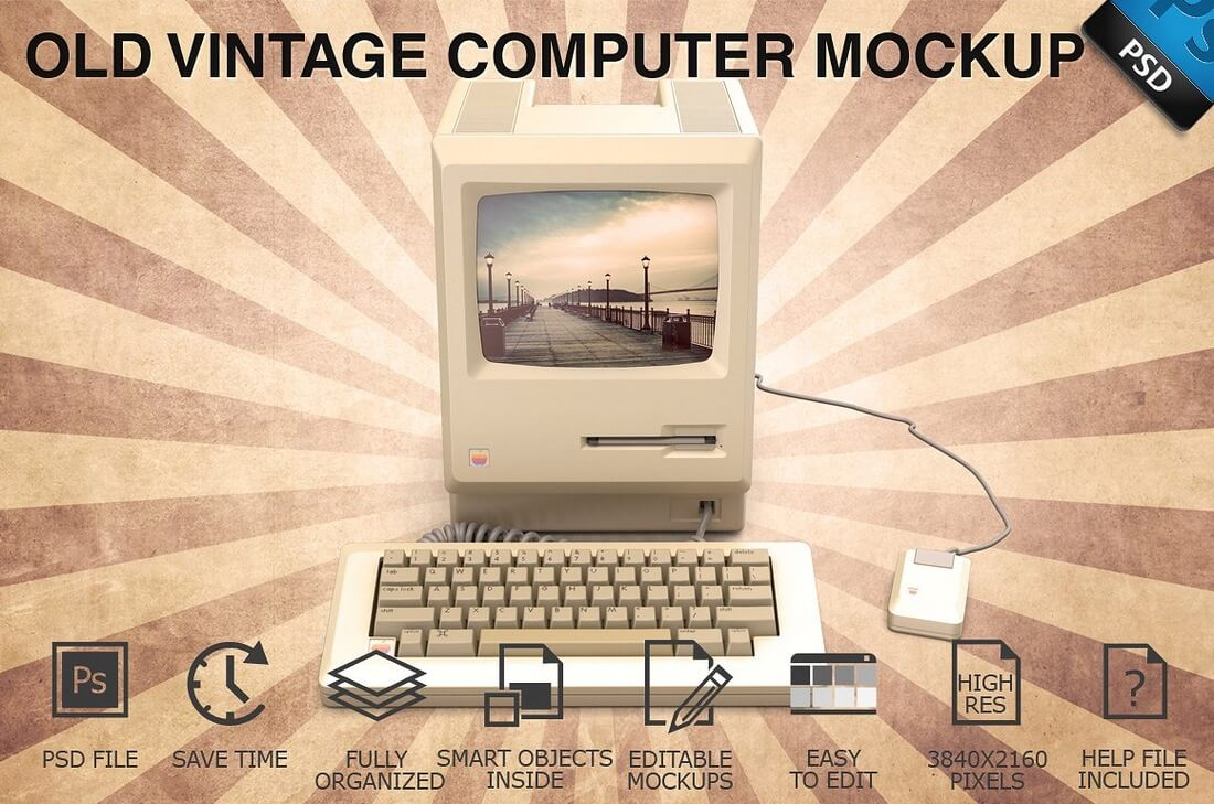 Old-Vintage-Computer-Display-Mockup 40+ Stunning Vintage Mockup Packs & Graphics design tips