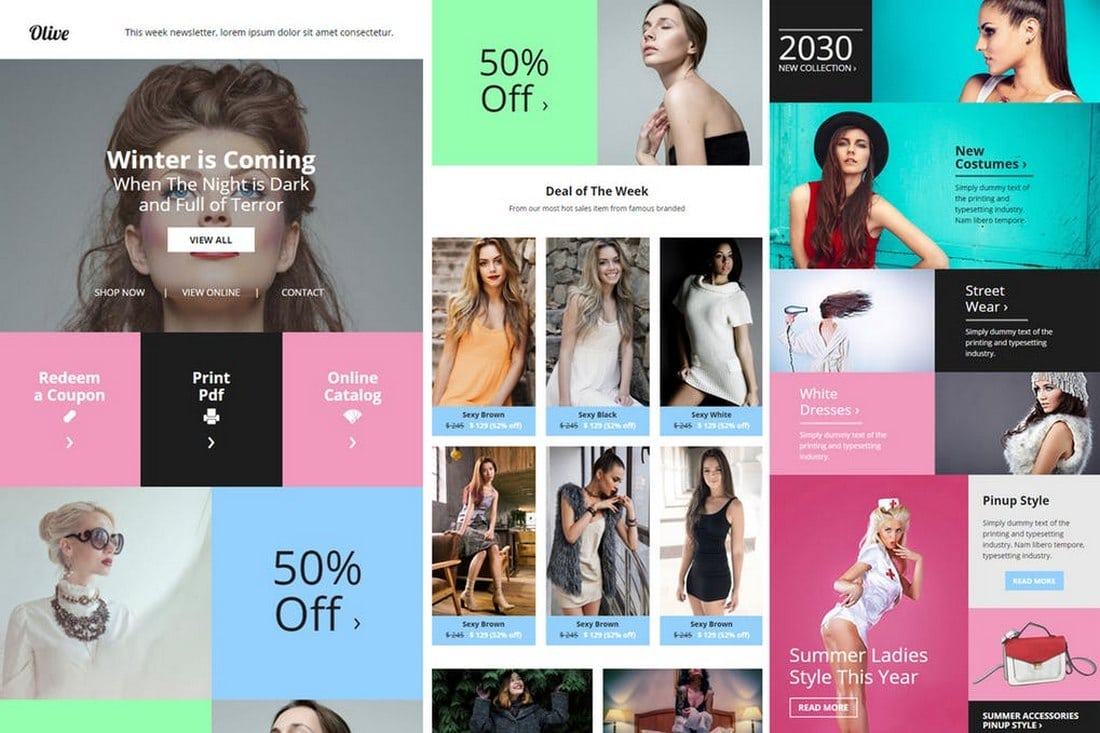 Olive-Fashion-Ecommerce-Email-Newsletter 20+ Best MailChimp Email Newsletter Templates (Free + Premium) 2021 design tips
