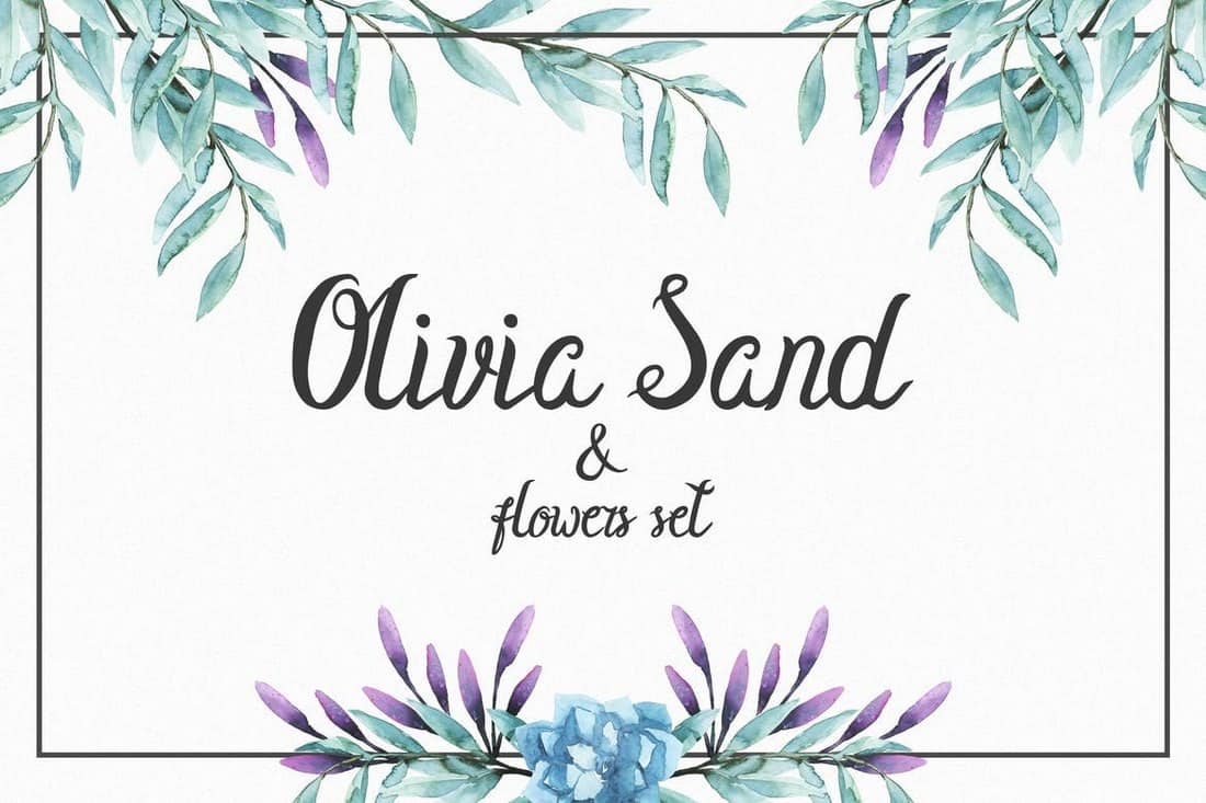 Olivia Sand Typeface & Flowers set