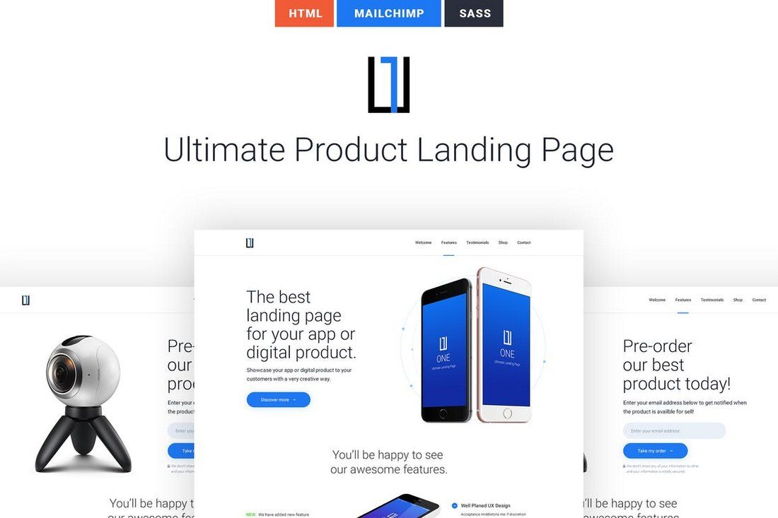 One-Ultimate-Product-Landing-Page-1 50+ Best App Landing Page Templates 2021 design tips