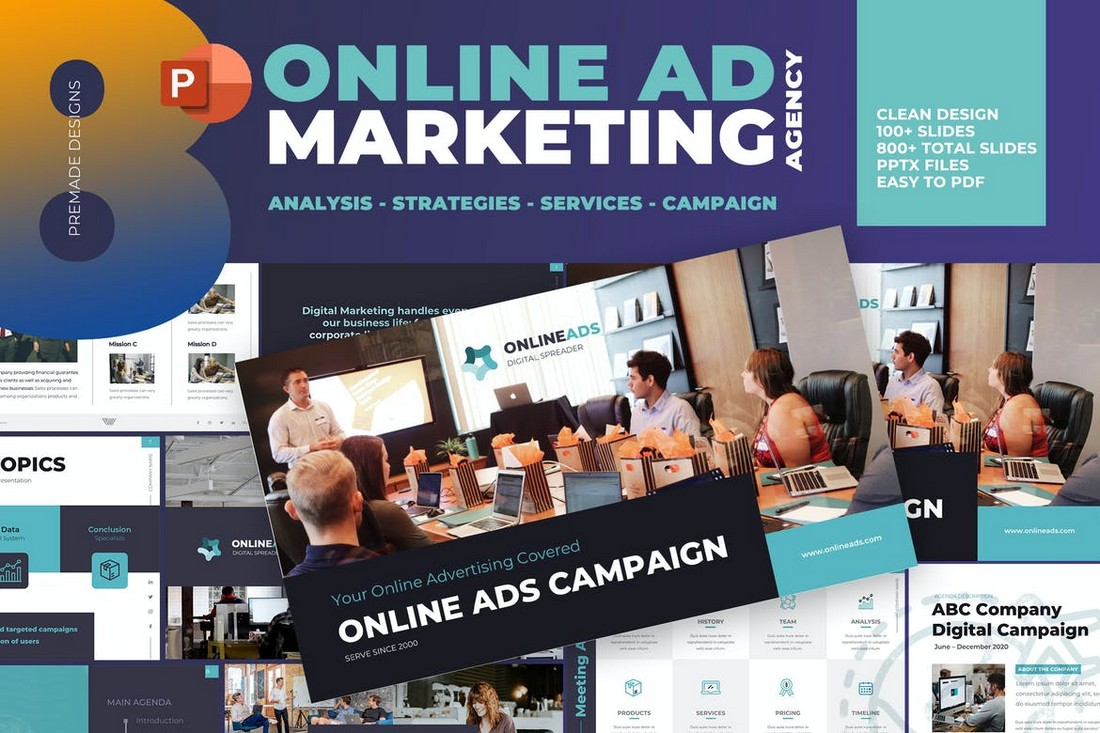 Online Ad Marketing Plan PowerPoint Template