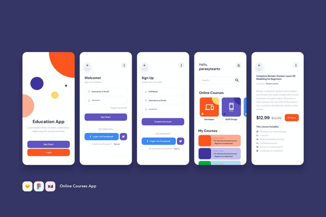 Online-Courses-App-UI-Adobe-XD-Templates 30+ Best Adobe XD UI Kits + Templates 2020 design tips