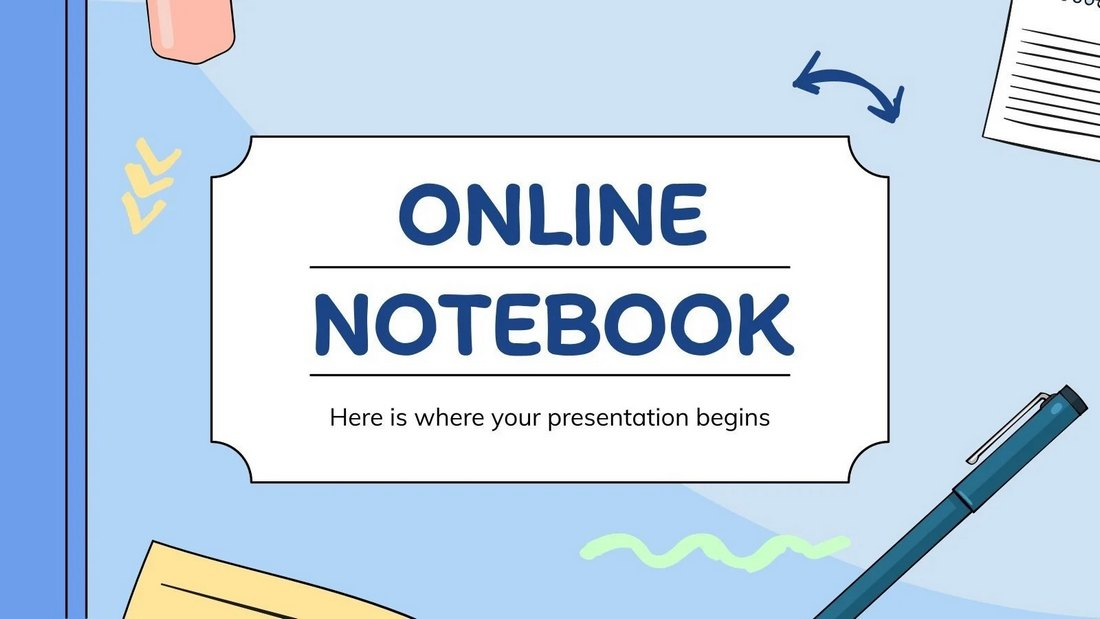 Online Notebook - Free PowerPoint Template