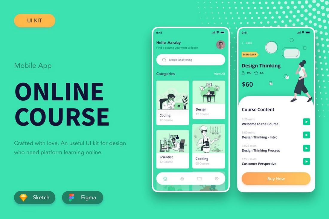 Online School App Template for Figma & Sketch