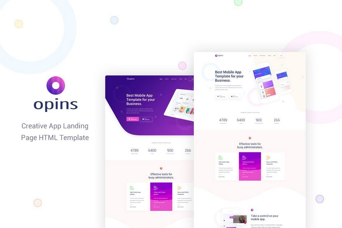 Opins-Creative-App-Landing-Page-HTML-Template-1 50+ Best App Landing Page Templates 2021 design tips