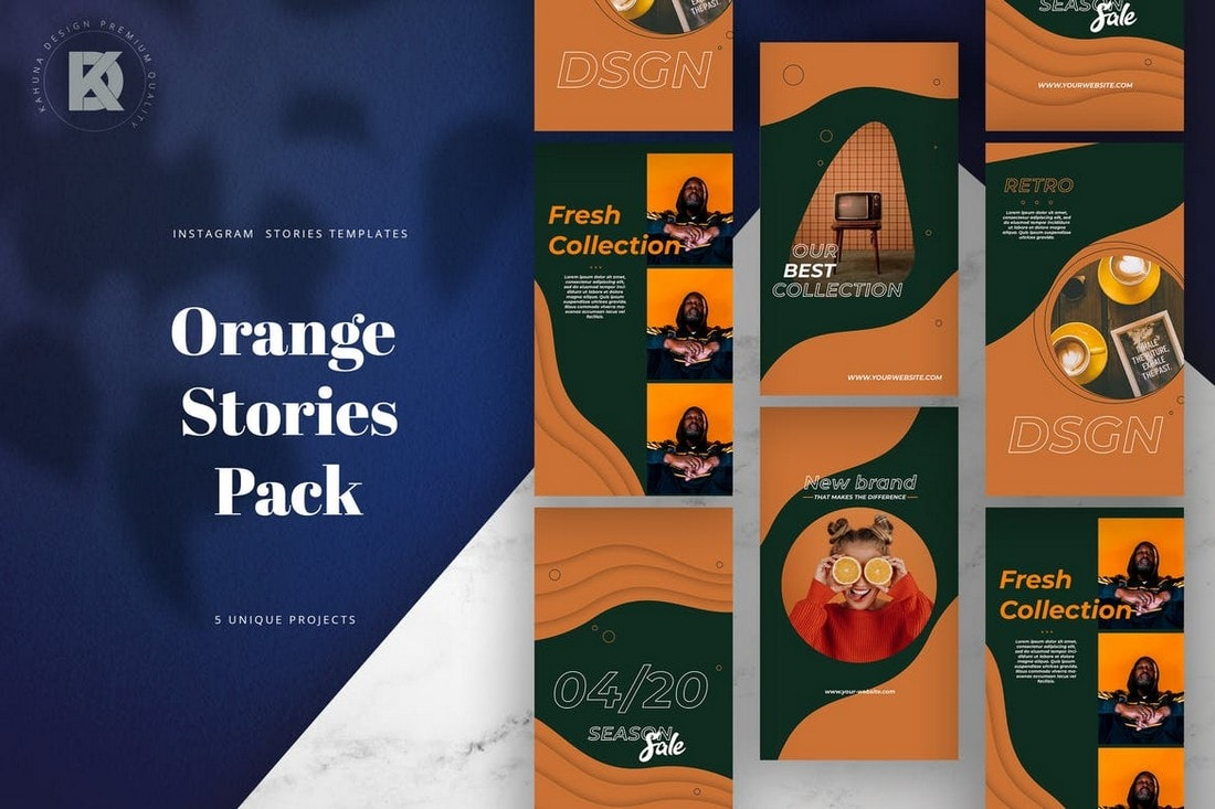 Orange-Instagram-Stories-Pack 40+ Best Social Media Kit Templates & Graphics design tips  Inspiration|facebook|social media|twitter