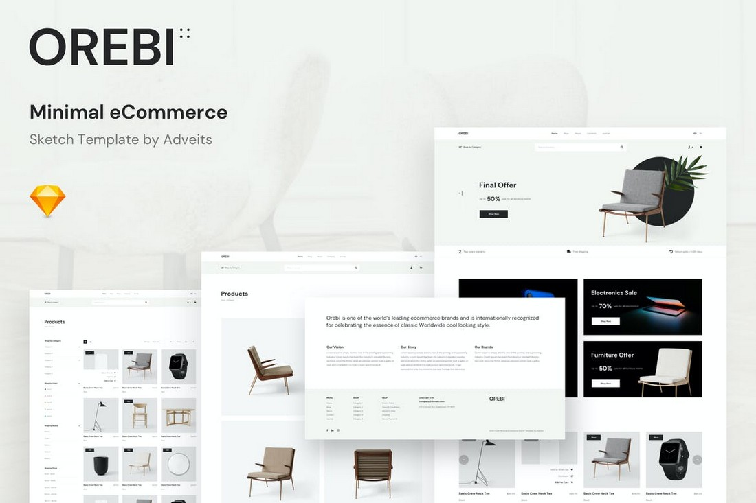 Orebi - Minimal eCommerce Website Sketch Template