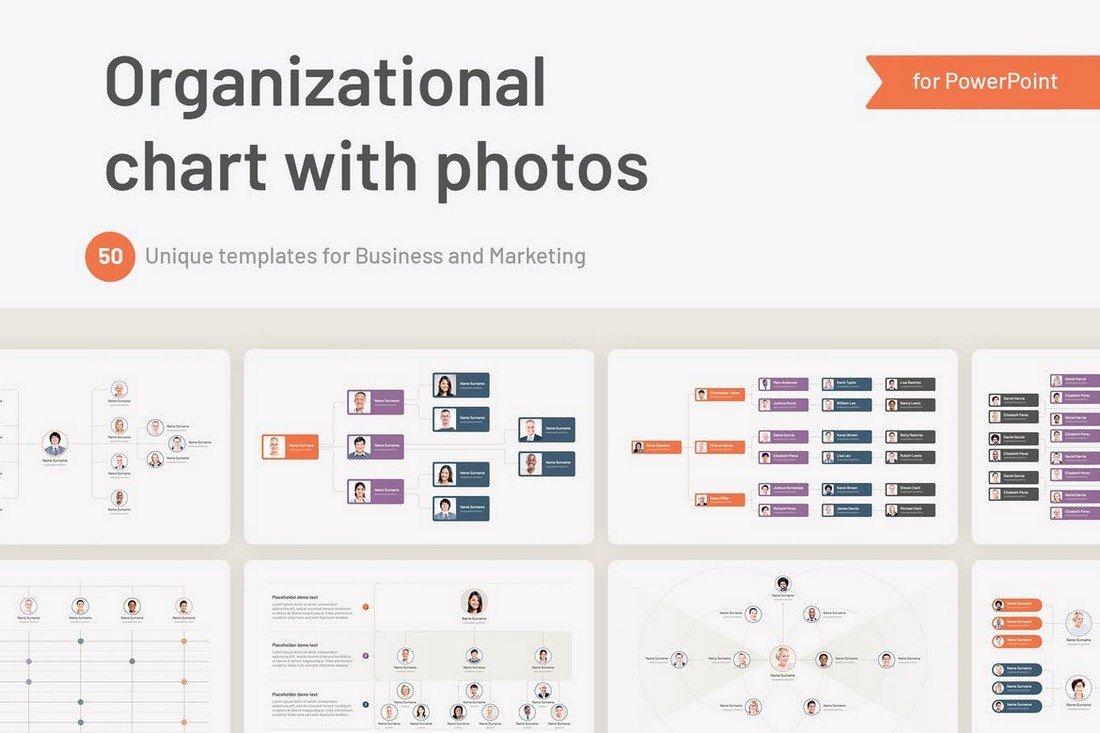 Organizational Hierarchy Chart for PowerPoint