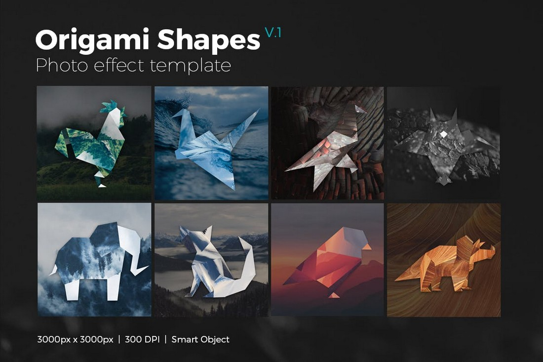 Origami Shapes Photo Effect Layer Styles