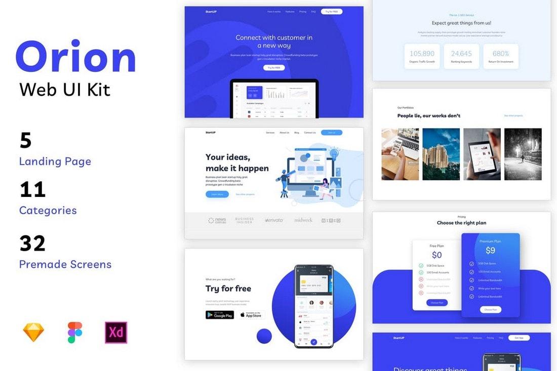 Orion - Website UI Kit for Sketch