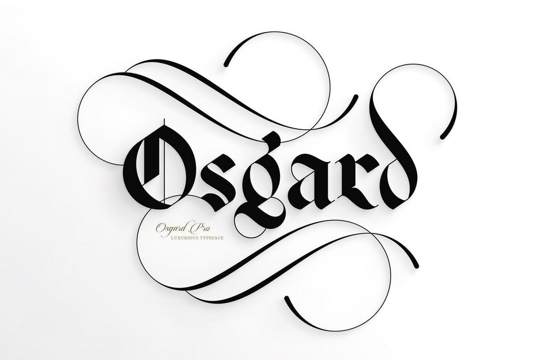 This beautiful font showcases the blackletter typeface design at its best osgard pro is a professionally designed blackletter font thats perfect to use