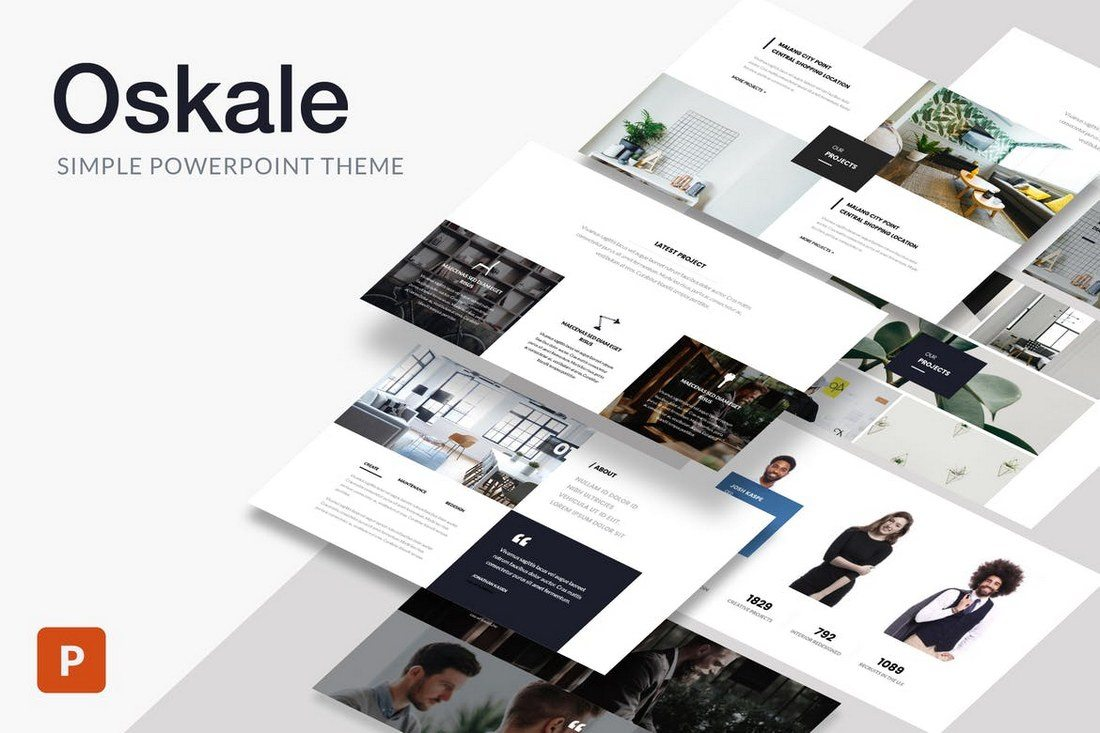 25 best minimal powerpoint templates 2018 design shack oskale is a stylish powerpoint template you can use to create beautiful presentations for creative agencies and businesses this template includes 70 toneelgroepblik Images