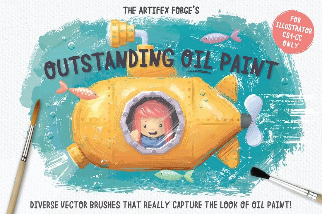 Outstanding-Oil-Paint-Brushes-for-Illustrator-1 25+ Best Free Adobe Illustrator Brushes 2021 design tips
