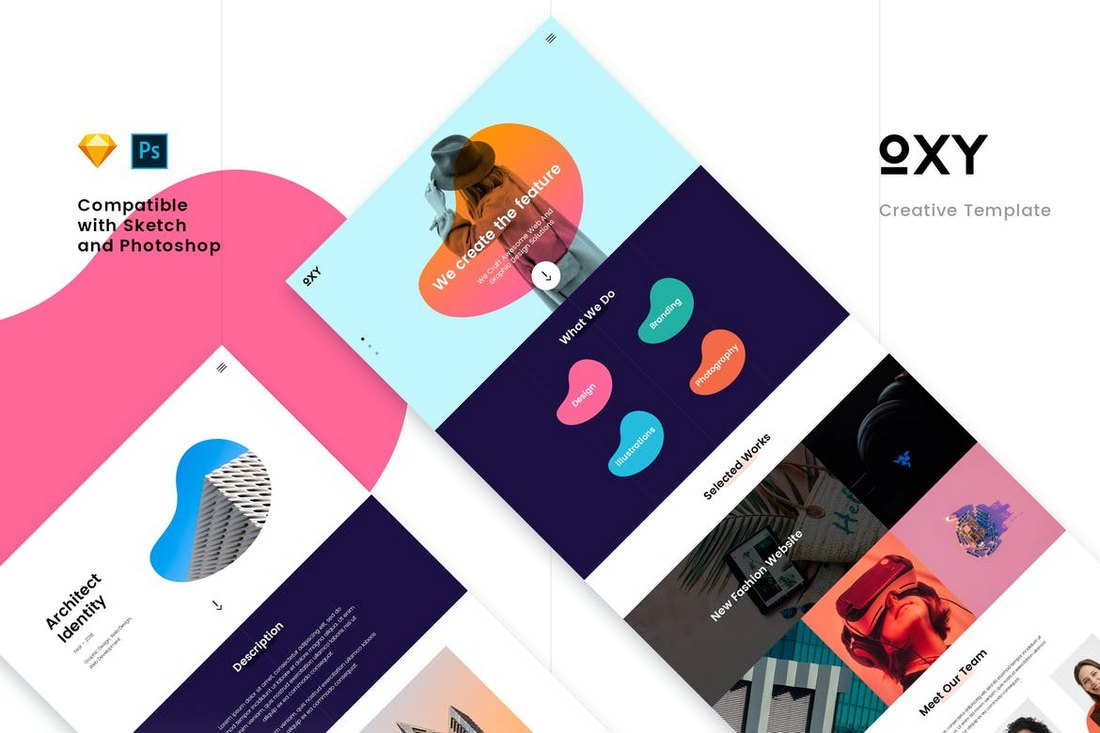 Oxy Creative PSD & Sketch Template