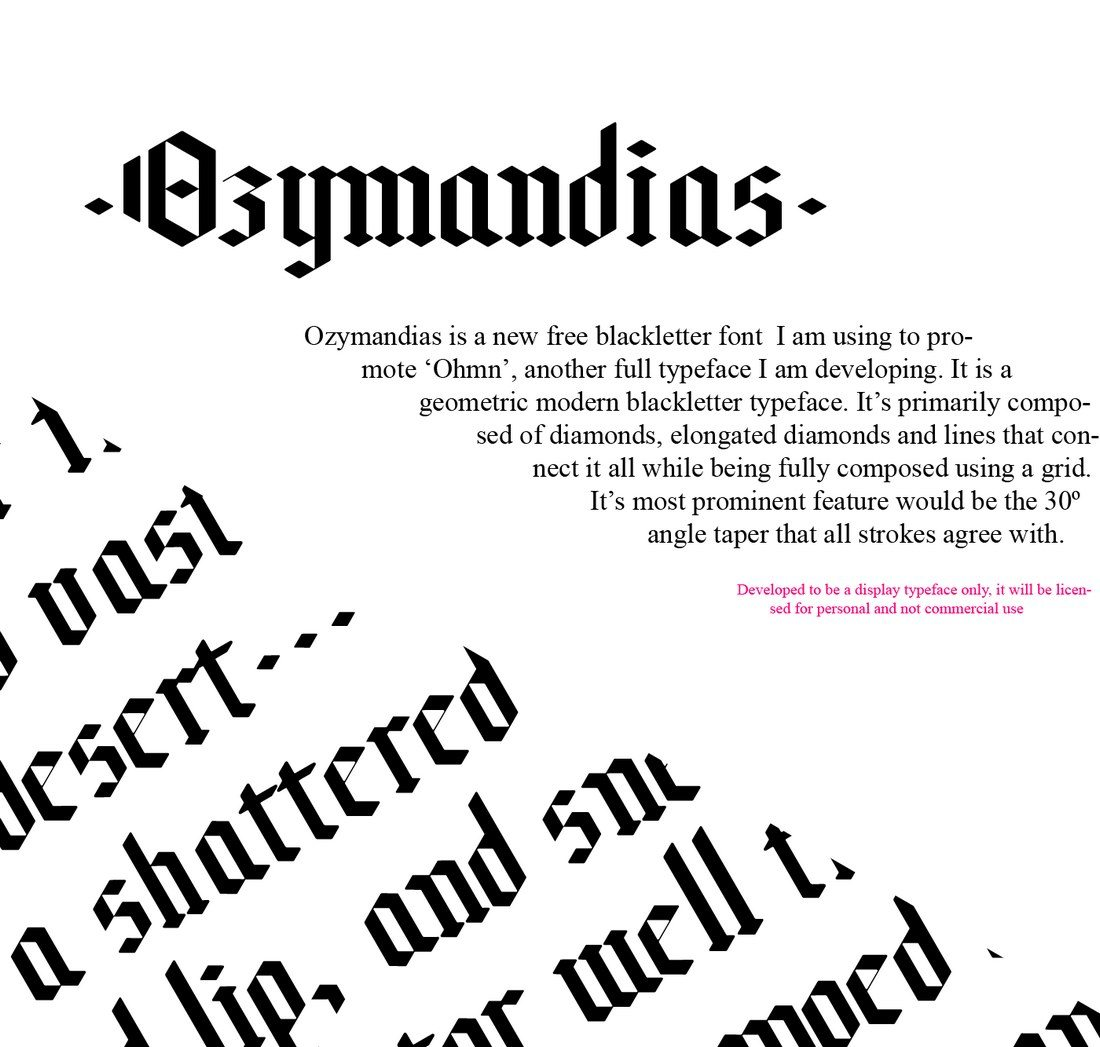 According To The Designer Of This Typeface Ozymandias Is A Blackletter Font Thats Composed Design Diamonds And Lines That Connects Them All
